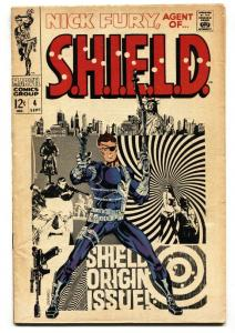 NICK FURY, AGENT OF SHIELD #4 SHIELD origin issue 1968- Marvel Steranko