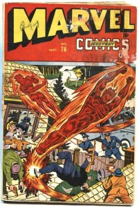 MARVEL MYSTERY #76-1946-SCHOMBURG-HUMAN TORCH-MISS AMERICA BEGINS