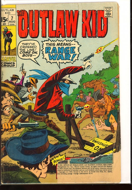 The Outlaw Kid #7 (1971) (incomplete with pages missing)