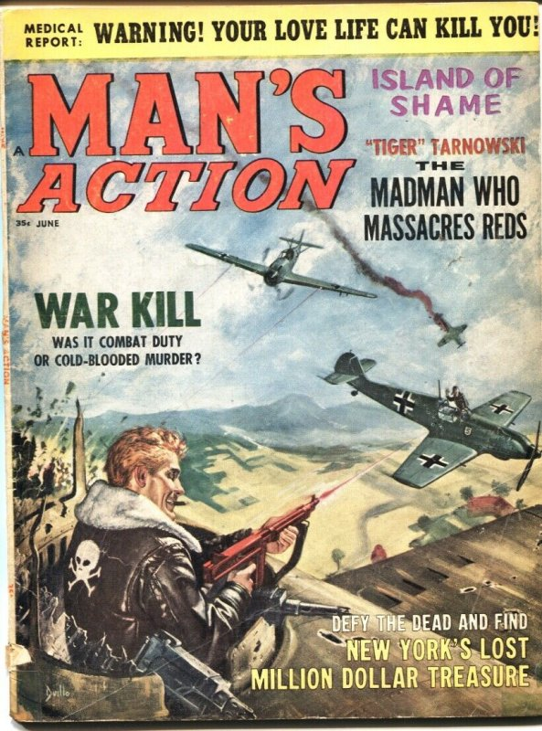 MAN'S ACTION 6/1965-AIR WAR COVER BY DUILLO-CHEESECAKE-EXPLOITATION-PULP