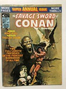 SAVAGE SWORD OF CONAN ANN 1F-VF 1975 b&w Barry Smith reprints classic