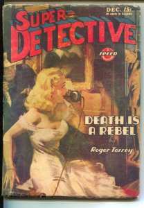 Super-Detective 12/1944-HJ Ward hanging man cover-Hardboiled crime pulp from Rog