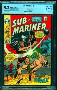 Sub-Mariner #40 CBCS NM- 9.2 Off White to White Marvel Comics