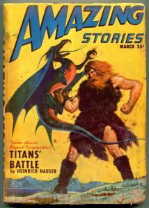 Amazing Stories Pulp March 1947- Heinrich Hauser- Dragon cover G