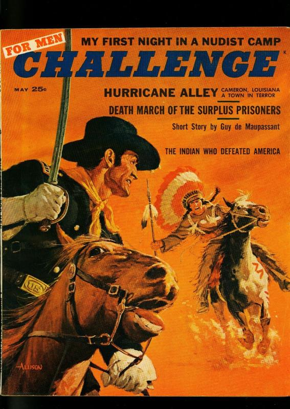 Challenge For Men May 1958- Indian attack cover- nudist camp- cheesecake FN