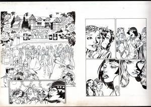 JAMES FRY ORIGINAL COMIC ART-HALLOWEEN SCENE-FRANKENSTEIN-SPICY