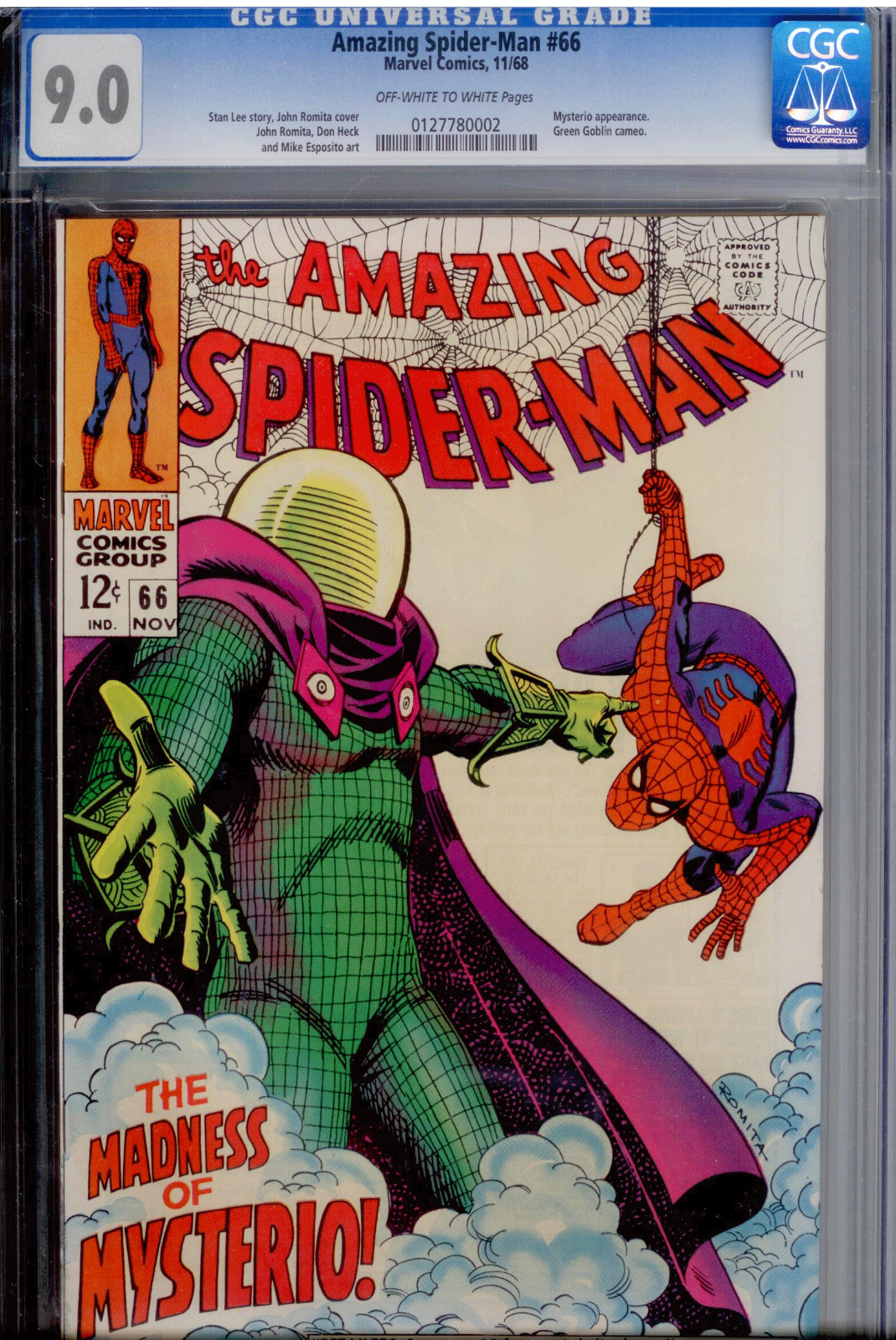 Amazing Spider-Man#66 CGC 9 0 OW/WHITE Mysterio - MOVIE 2019
