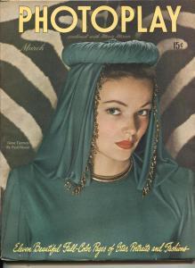 Photoplay-Gene Tierney-Lucille Ball-Linda Darnell-Van Johnson-March-1946