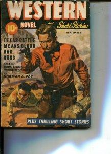 WESTERN NOVEL  AND SHORT STORIES--SEPT 1942-- -GUN FIGHT COVER-- VIOLENT PULP...