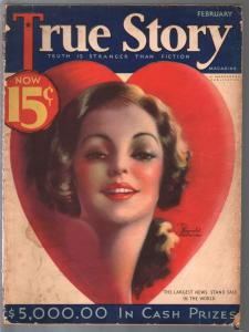 True Story 2/1933-valentine style  pin-up girl cover by Jodhunter-scandals-VG
