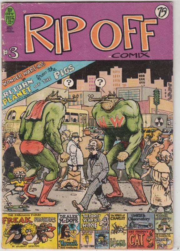 Rip Off Comix #3 (Jan-78) VG- Affordable-Grade Wonder Wart-Hog, Freak Brother...