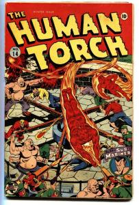 HUMAN TORCH #14-1943-Alex Schomburg WWII cover-Timely comic book