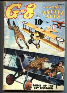 G-8 and His Battle Aces Pulp March1937-Aviation hero pulp- VG