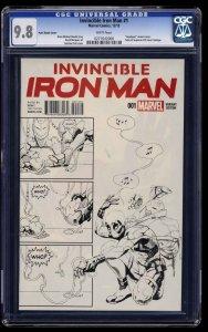 Invincible Iron Man (2015) #1 CGC NM/M 9.8 Putri Sketch Cover Deadpool!