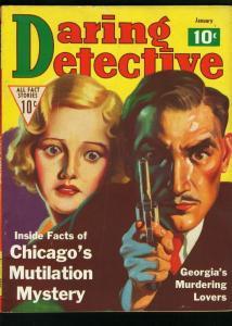 DARING DETECTIVE JAN 1936-CHICAGO MUTILATION-MURDER-TRUE CRIME VG