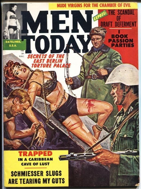 Men Today Feb/1962-Spicy Commie torture cover-Bondage-Bad Mags!