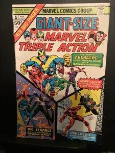 Giant-Size Marvel Triple Action #1 (1975) Avengers, DD, Dr.Strange NM- Wow!