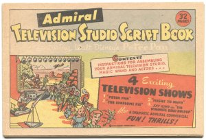 ADMIRAL TELEVISION STUDIO SCRIPT BOOK-SKY KING-FLIGHT TO MARS-PETER PAN-1953