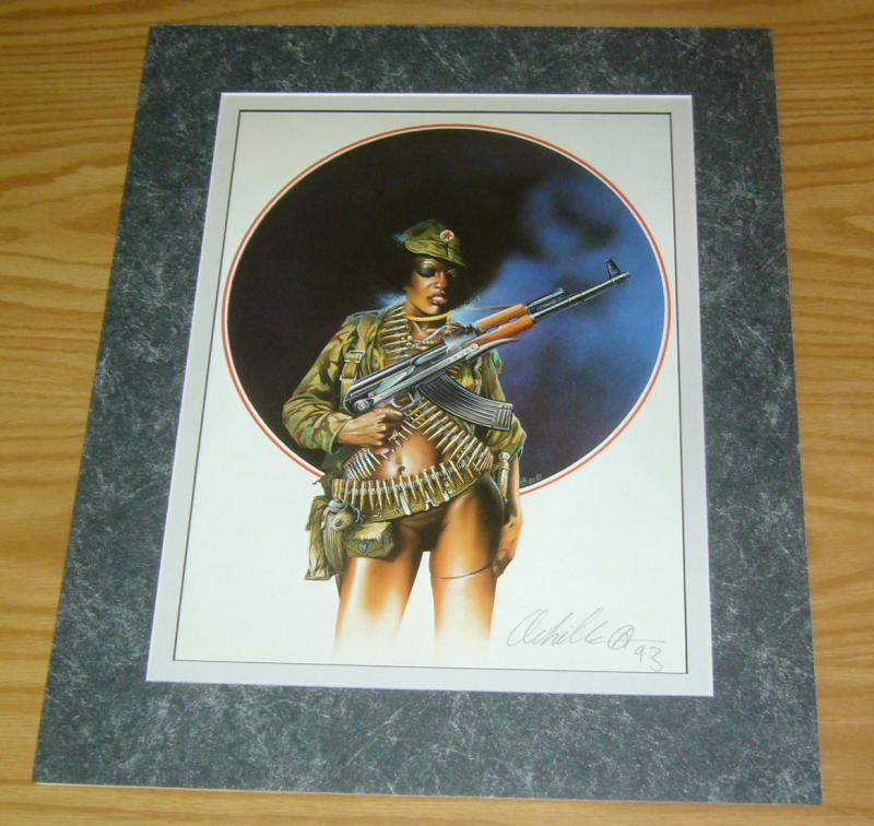 Chris Achilleos' Amazons Print: Black Guerilla - signed art - sexy black girl