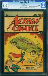 ACTION #1 1976-CGC GRADED 9.6--1st SUPERMAN-SLEEPING BAG REPRINT!-HTF 0224696006