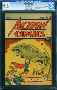 ACTION #1 1976-CGC GRADED 9.6--1st SUPERMAN-SLEEPING BAG REPRINT!-HTF 0224696006