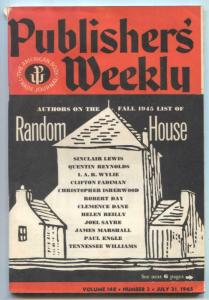 Publisher's Weekly July 21 1945- Sinclair Lewis- Rewl Comics