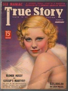 True Story 1/1938-Macfadden-spicy pulp thrills-exploitation-Victor Tchetchet-FR