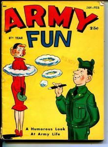 Army Fun 1/1959-Crestwood-military themes-spicy cartoons-jokes-comics-VG/FN-