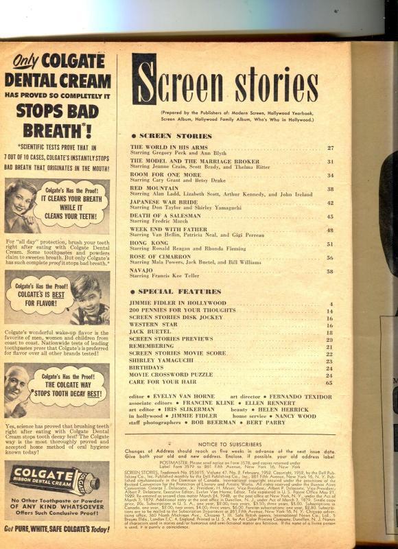 Screen Stories-Ann Blyth-Gregory Peck-Ronald Reagan-King Kong-Feb-1952