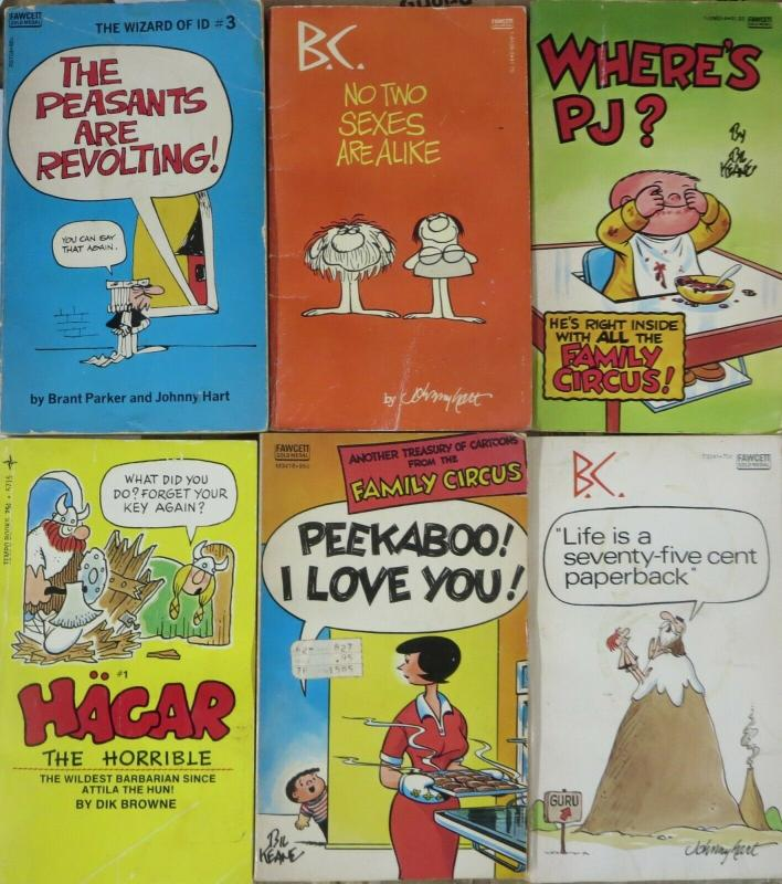 COMIC STRIP PAPERBACK/POCKET BOOK COLLECTION! 6 books- BC,Family Circus/Hagar