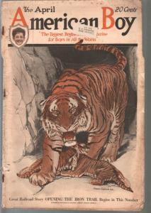 American Boy 4/1919-C L Bell tiger cover-adventure-pulp fiction-FR/G