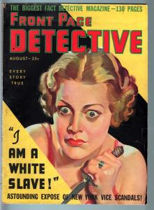 FRONT PAGE DETECTIVE PULP-AUG 1936 #1-MYSTERY-CRIME-VICE-DISMEMBERMENT-T VG/FN