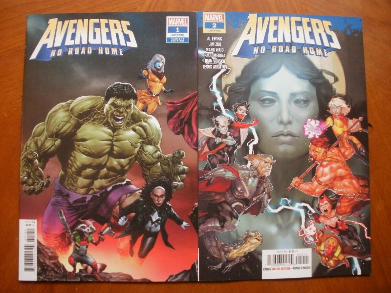 2 NEW Mint Marvel Comic: AVENGERS NO ROAD HOME #1 (Hulk Variant) #2 (2019)