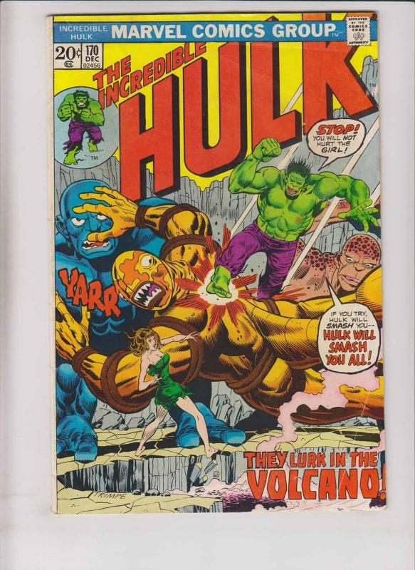 Incredible Hulk #170 VG+ chris claremont - steve englehart - herb trimpe - 1973