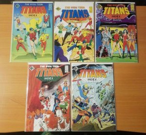 Official Teen Titans Index 1-5 Complete Set Run! ~ NEAR MINT NM ~ 1985 DC Comics