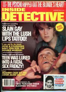 Inside Detective 9/1986-strangulation cover-psycho-violent pulp crime thrills-VG