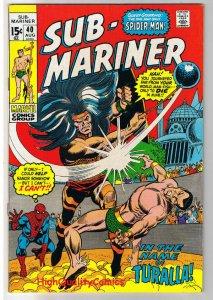 SUB-MARINER #40, FN+, Spider-man, Gene Colan, 1968, more in store