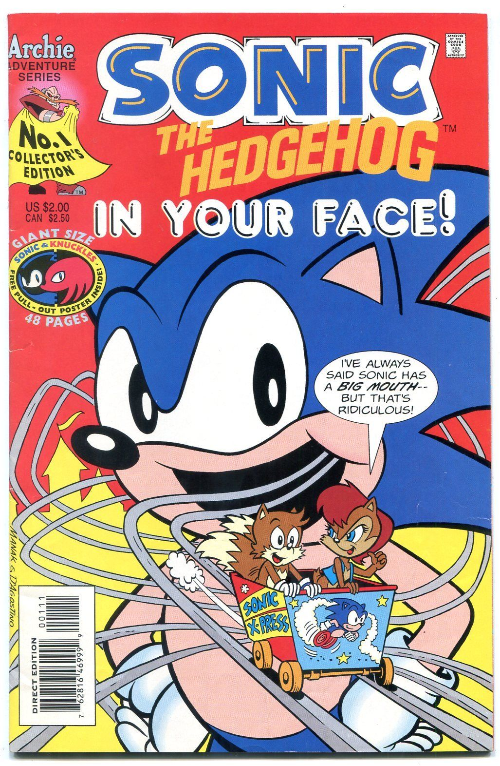 Sonic The Hedgehog In Your Face Special 1 1995 Archie Comics Sega Hipcomic