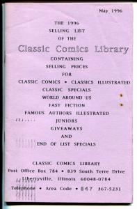 Classic Comics Library Sales List 5/1996-Classics Illustrated-Gilberton Pub-VG