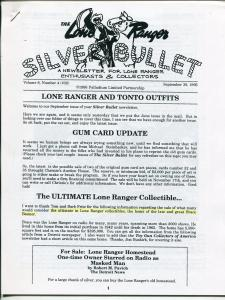 Lone Ranger Silver Bullet Newsletter #32 9/1995-Xerox format-limited printing-FN
