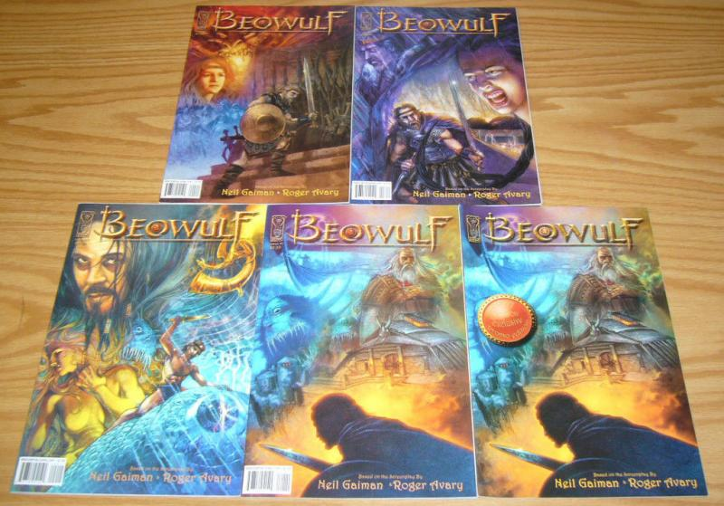 Beowulf #1-4 VF/NM complete series + promo - based on neil gaiman's film script