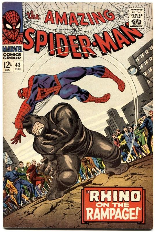 AMAZING SPIDER-MAN #43-RHINO COVER-marvel silver-age HIGH GRADE!