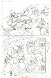 G.I. Joe #11 pg 9 ORIGINAL Pencil Art ROADBLOCK v ROBOTS Kurth IDW