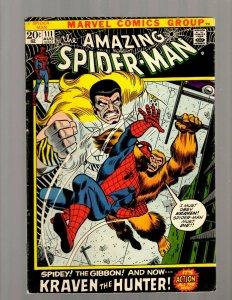 Amazing Spider-Man # 111 FN- Marvel Comic Book Kraven The Hunter Gibbon JK7