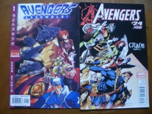 2 Near-Mint Marvel Comic: AVENGERS ASSEMBLE #1 (Manga) & THE AVENGERS #24 Chaos