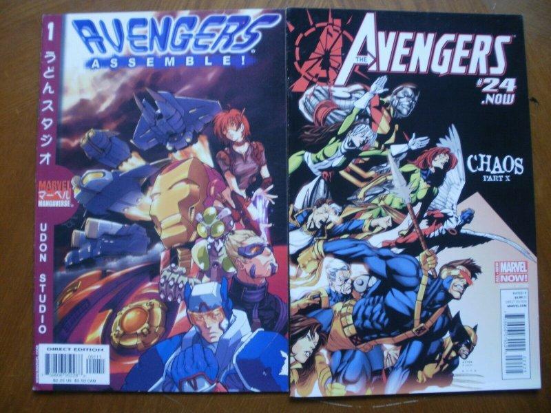2 Near-Mint Marvel Comic: AVENGERS ASSEMBLE #1 (Manga) & THE AVENGERS #24 Chaos