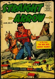 Straight Arrow #53 1956- Fred Meagher-Lionel train set cover- western G-