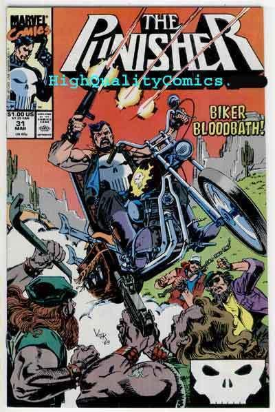 PUNISHER #31, NM+, Bikers Bloodbath, Mike Baron,1987, more in store