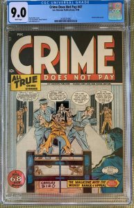 Crime Does Not Pay #47 (1946) CGC 9.0 -- White pages; Electric chair cover
