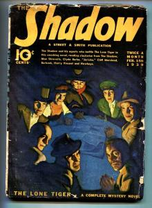 SHADOW 1939 Feb 15 -Classic cover- STREET AND SMITH-RARE PULP g/vg